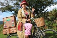 Isabella Necessity on her Story Bicycle - A pedal pushing storyteller, as part of Explorers' Season